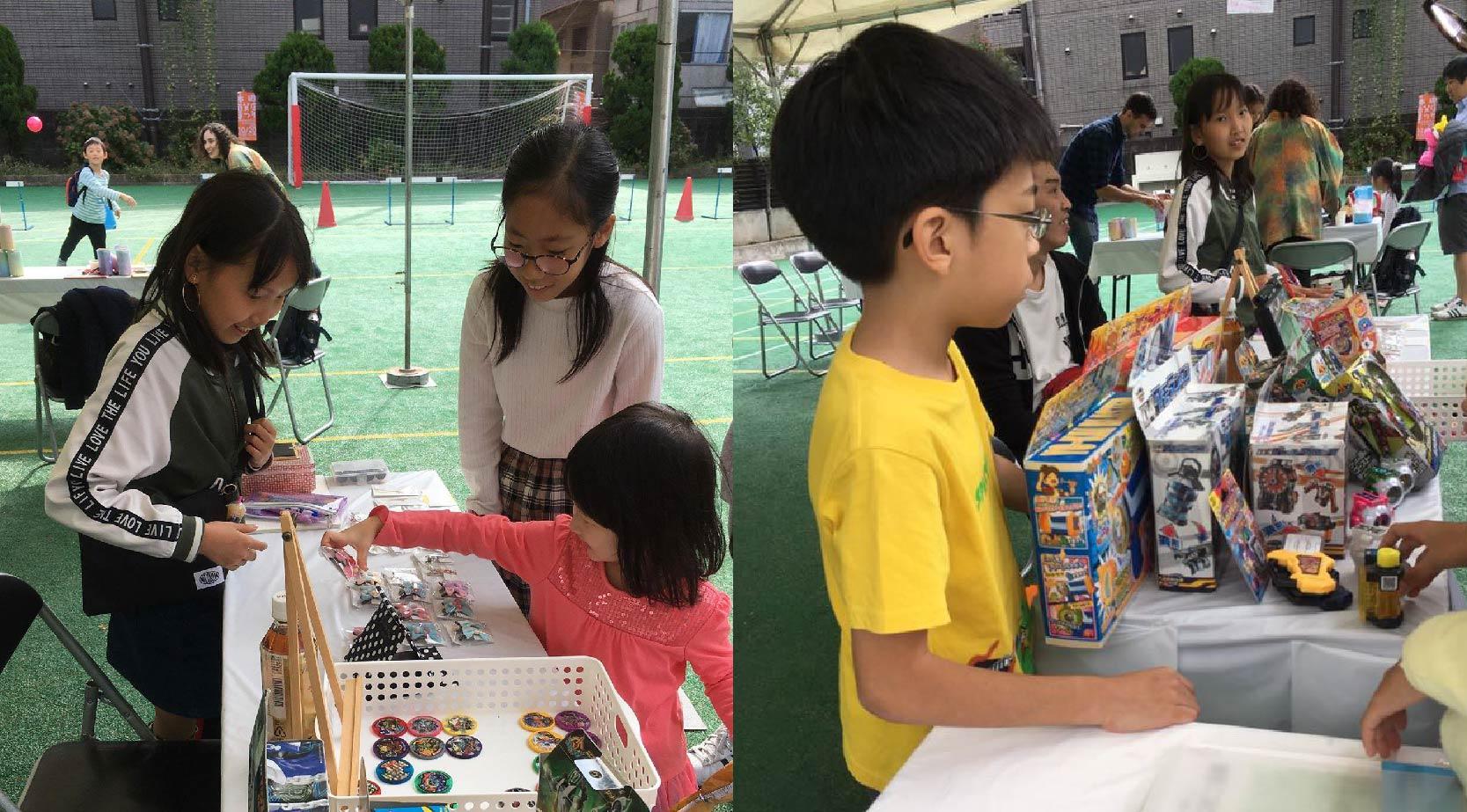 小学生が街のお祭りで商店開店のイメージ